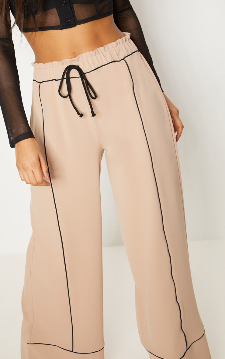 Stone Contrast Binding Ruched Waist Wide Leg Trouser 5