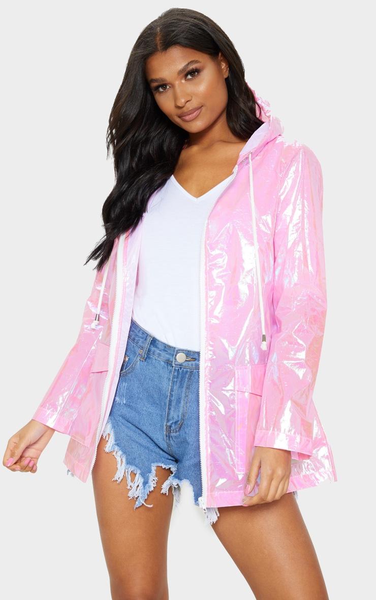 Cobie Pink Holographic Rain Mac 1
