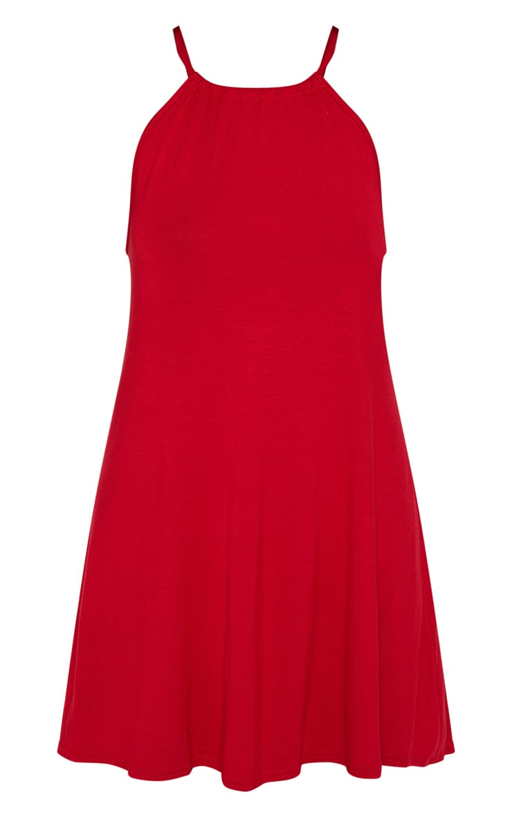 Red Ruched Halterneck Shift Dress 3