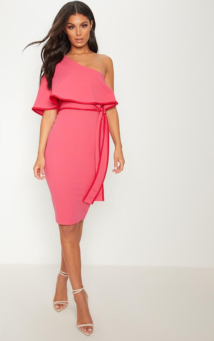 Pink One Shoulder Binding Detail Midi Dress 1