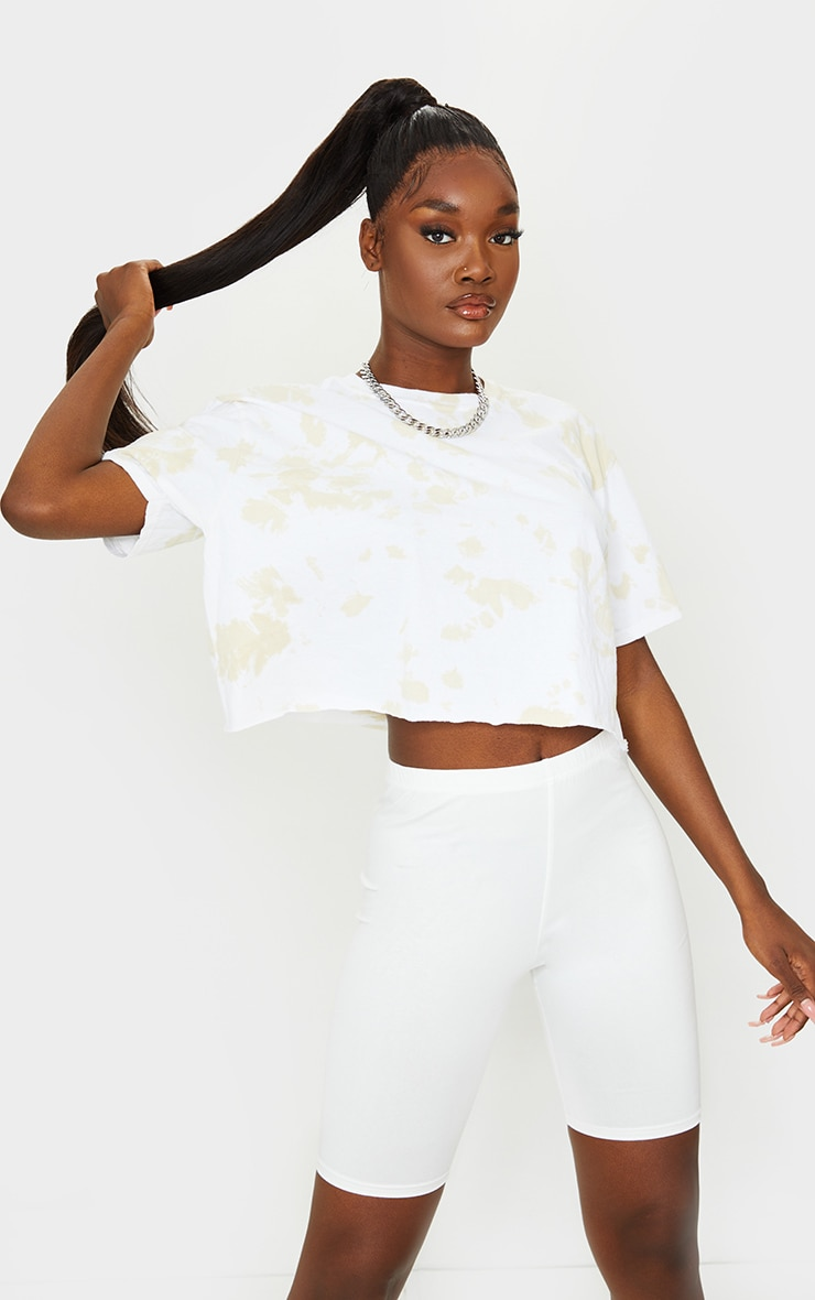 Tall Cream Tie Dye Cropped T Shirt 1