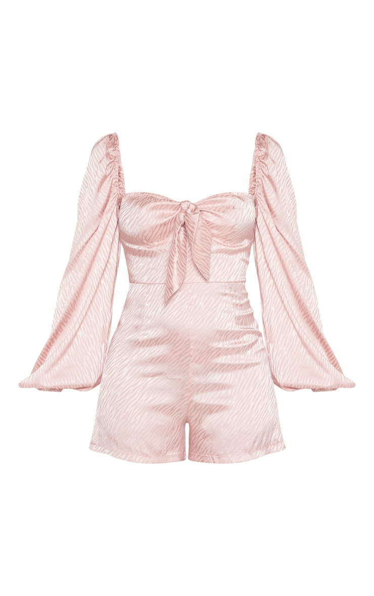 Dusty Pink Puff Sleeve Tie Front Playsuit 3