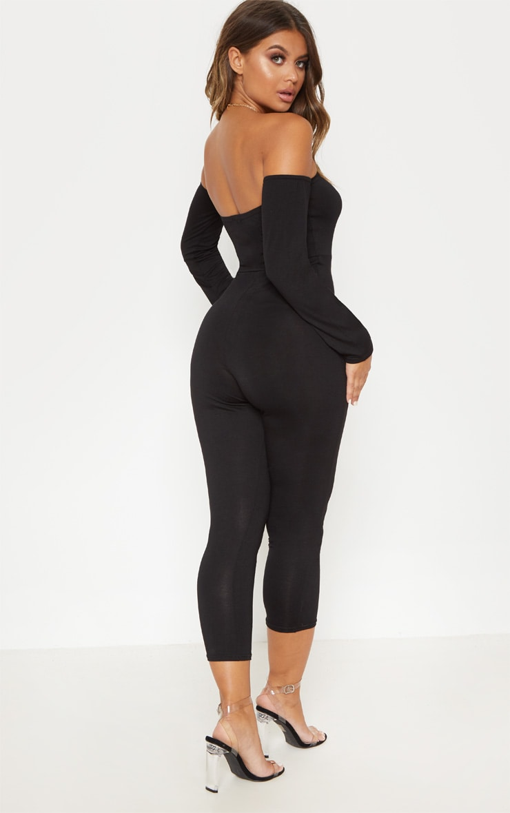 Black Jersey Bardot Cropped Jumpsuit 2