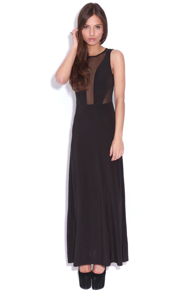 Laila Black Mesh Maxi Dress  4