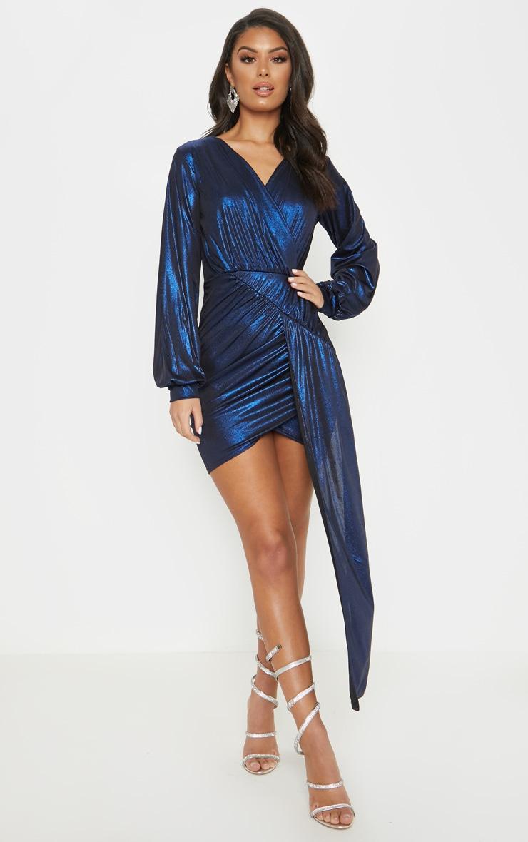 Blue Metallic Slinky Drape Dress Dresses Prettylittlething