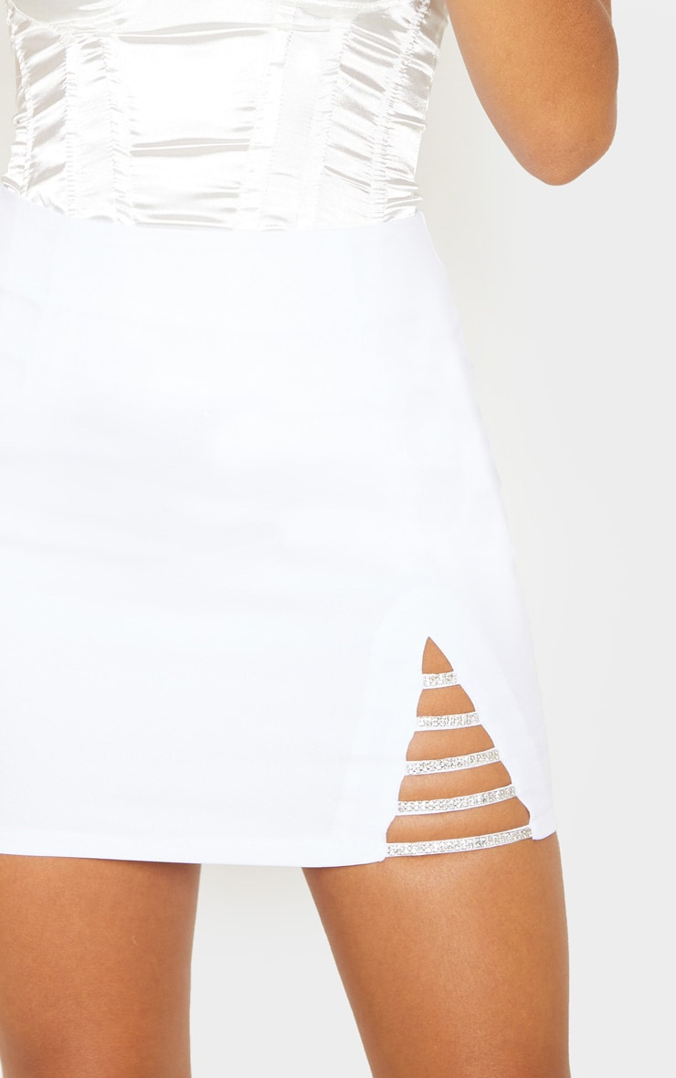 White Diamond Split Mini Skirt 6