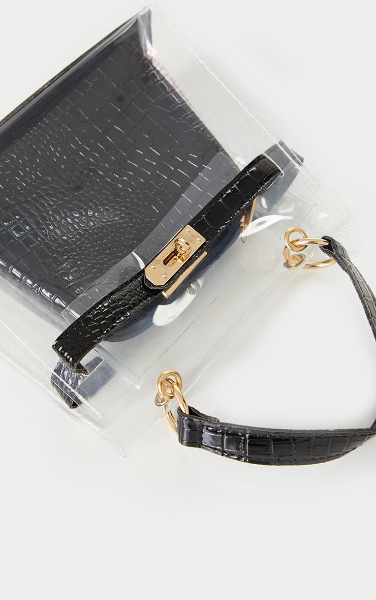 Clear Mini Black Croc Cross Body Bag 2