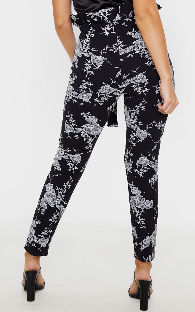 Black Floral Paperbag Skinny Pants  4