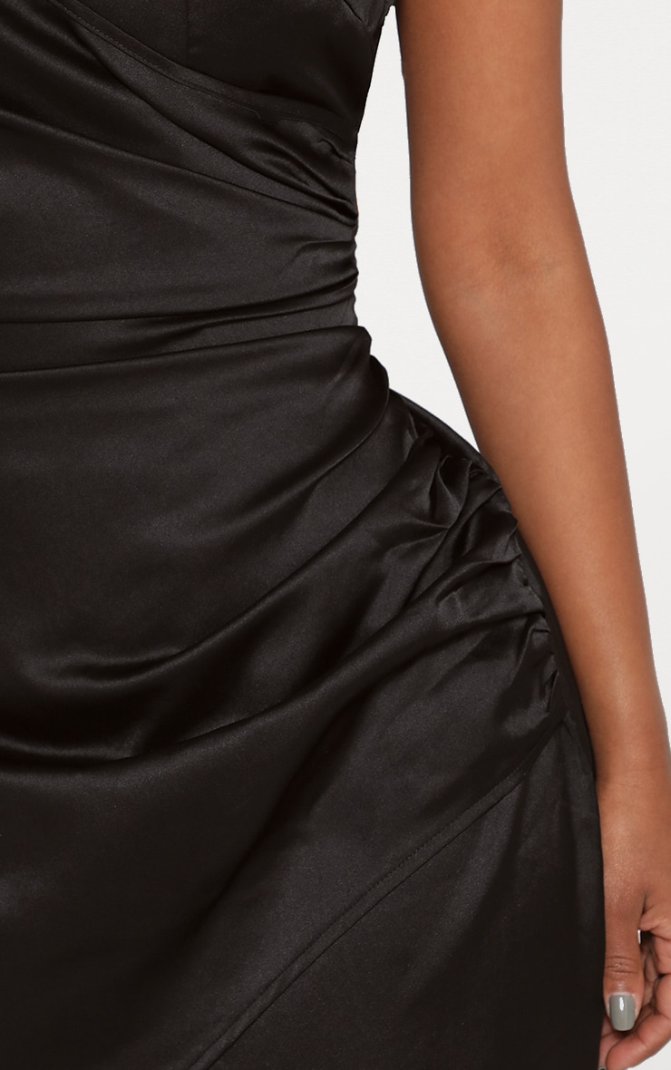 cad89939316 Shape Black Satin Wrap Dress image 5