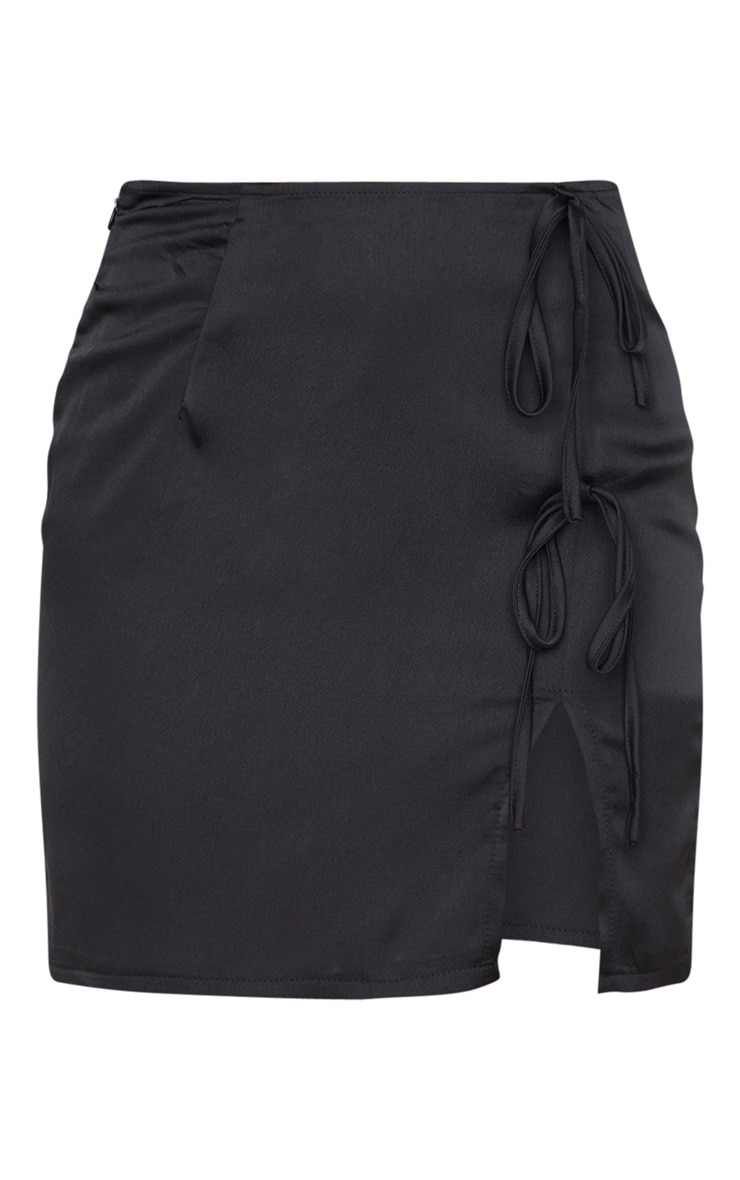 Petite Black Satin Double Tie Mini Skirt 3