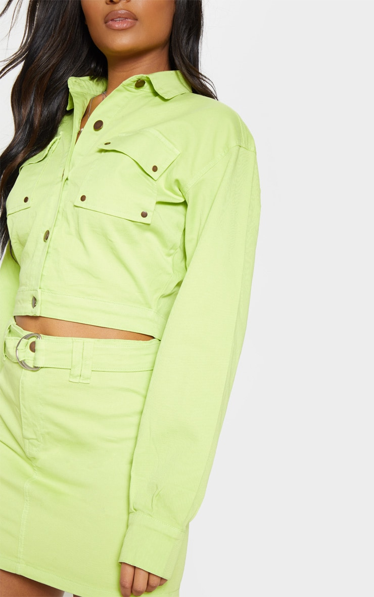 Veste courte en jean vert citron oversize style camionneur 5