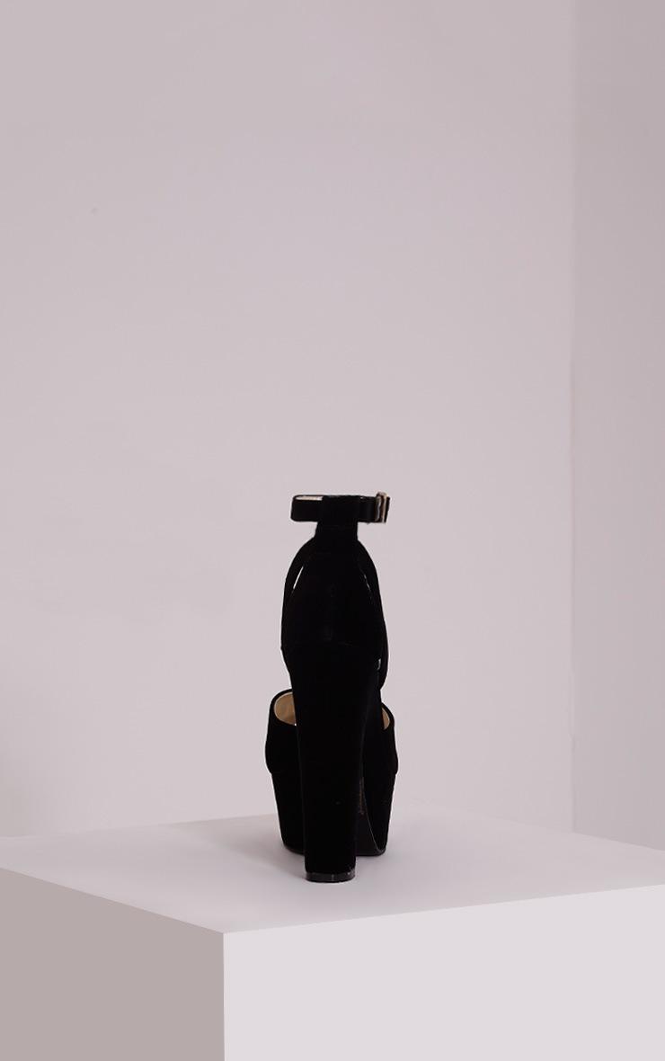 Leya Black Faux Suede Platform Sandals 4