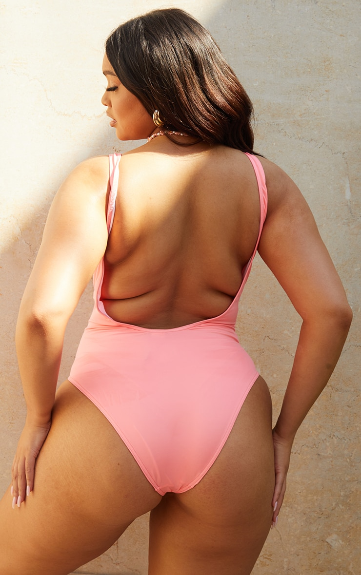 Recycled Plus Pink Fabric Scoop Back Swimsuit 1