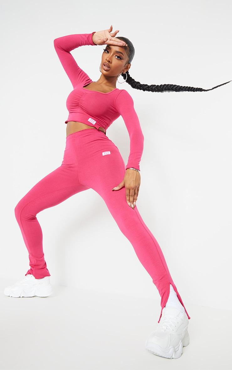 PRETTYLITTLETHING Shape Hot Pink Split Hem Leggings 1