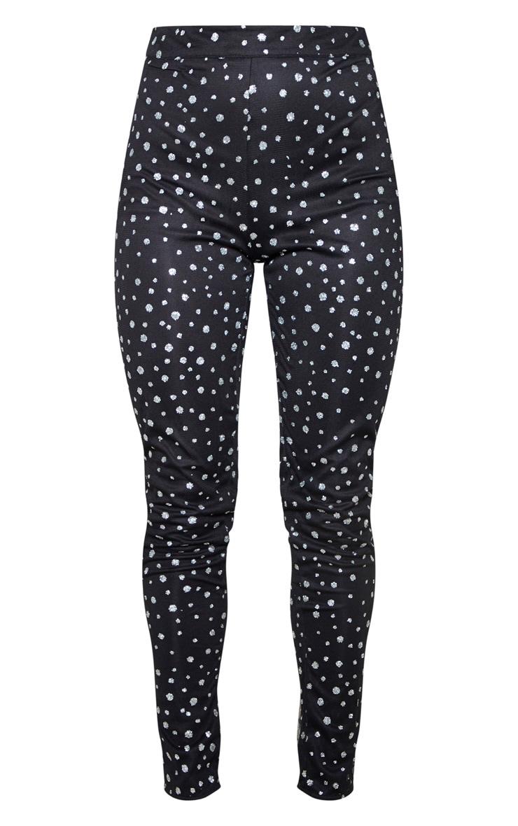 Black High Waisted Glitter Mesh Trouser 4