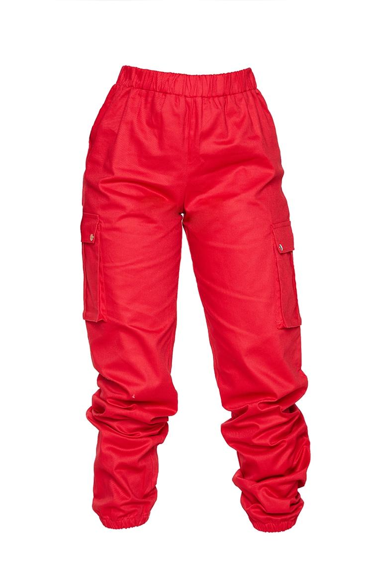 Petite Red Pocket Detail Cargo Pants 5