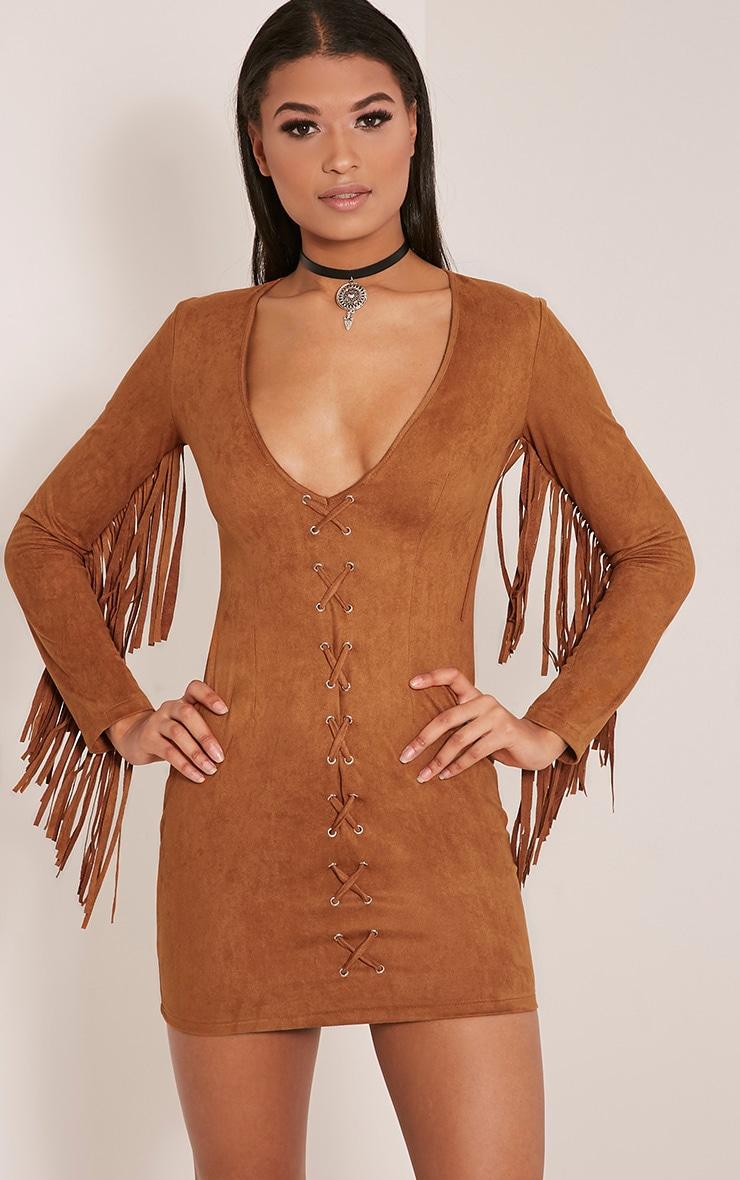 Cherri Tan Suede Lace Up Fringe Bodycon Dress 2
