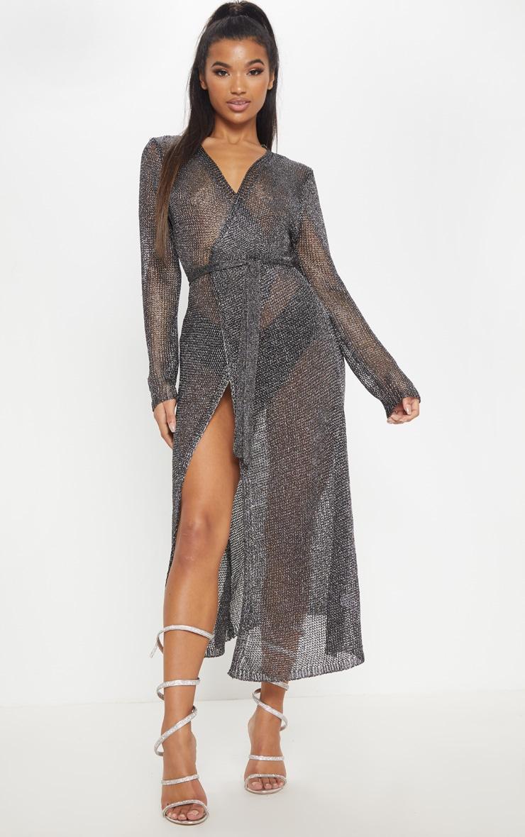 Silver Metallic Belted Dress