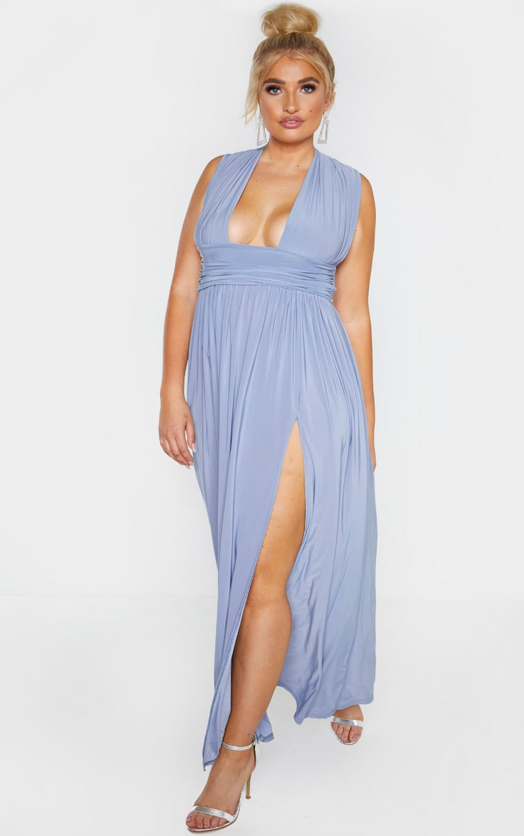 Plus Dusty Blue Ruched Plunge Maxi Dress 4