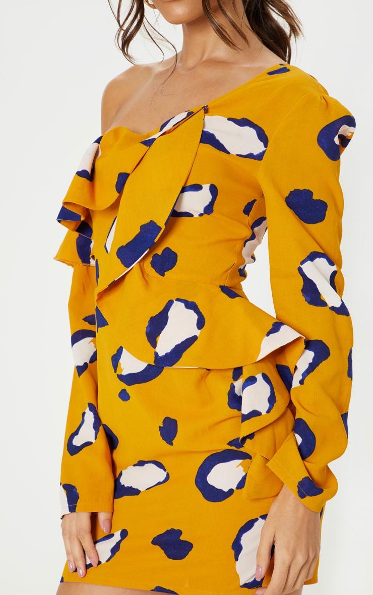 Mustard Leopard Print Asymmetric Sleeve Frill Bodycon Dress 5