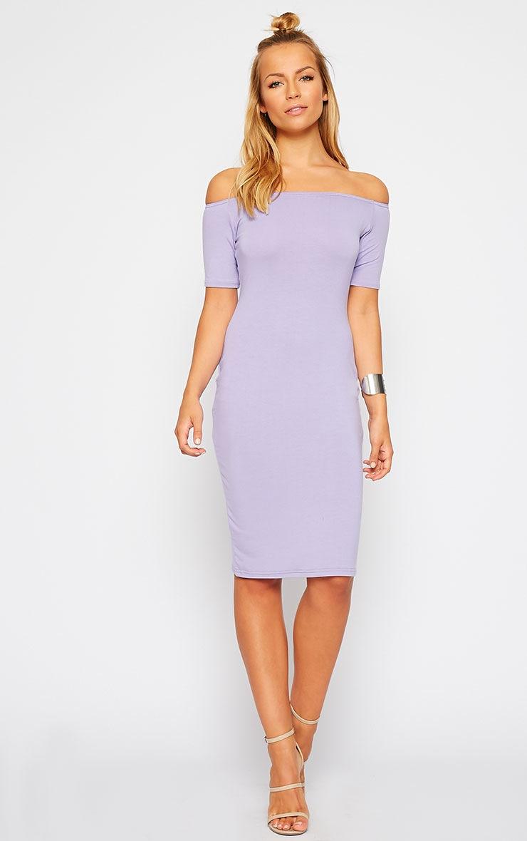 Caty Lilac Jersey Bardot Midi Dress 3