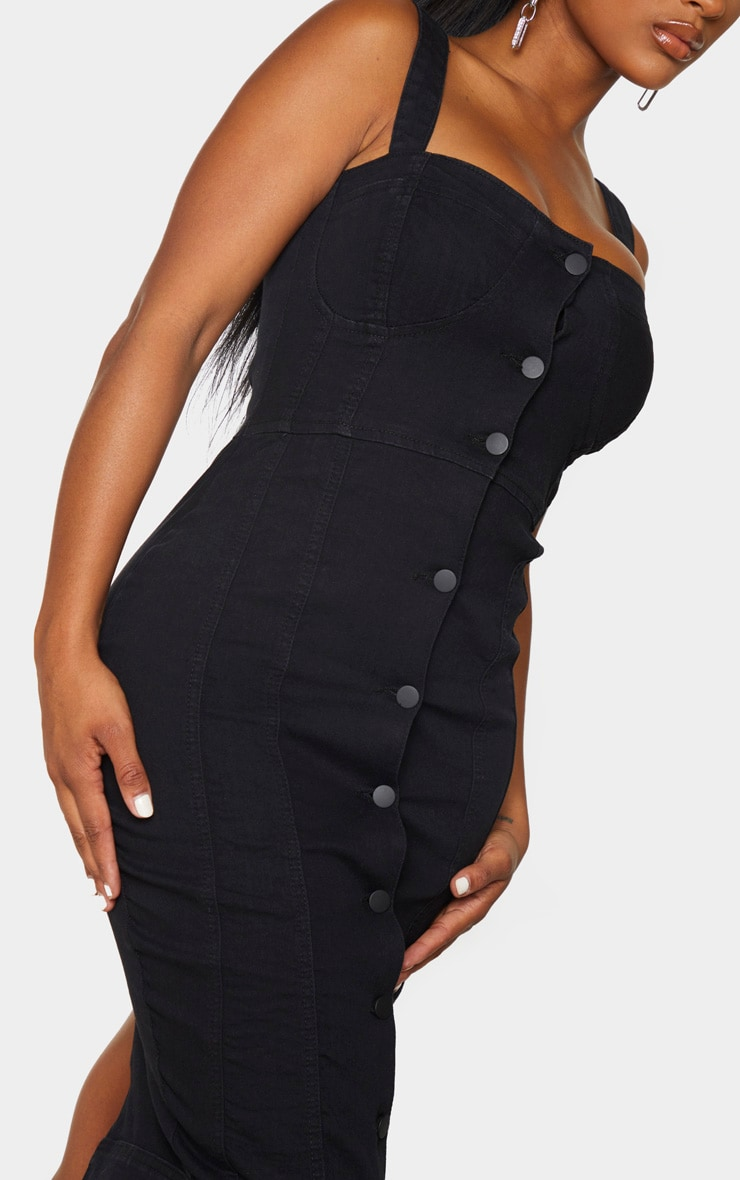 Shape Black Denim Cup Detail Button Midi Dress 4