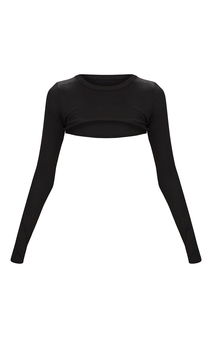 Black Long sleeve Rib Extreme Crop Top 3