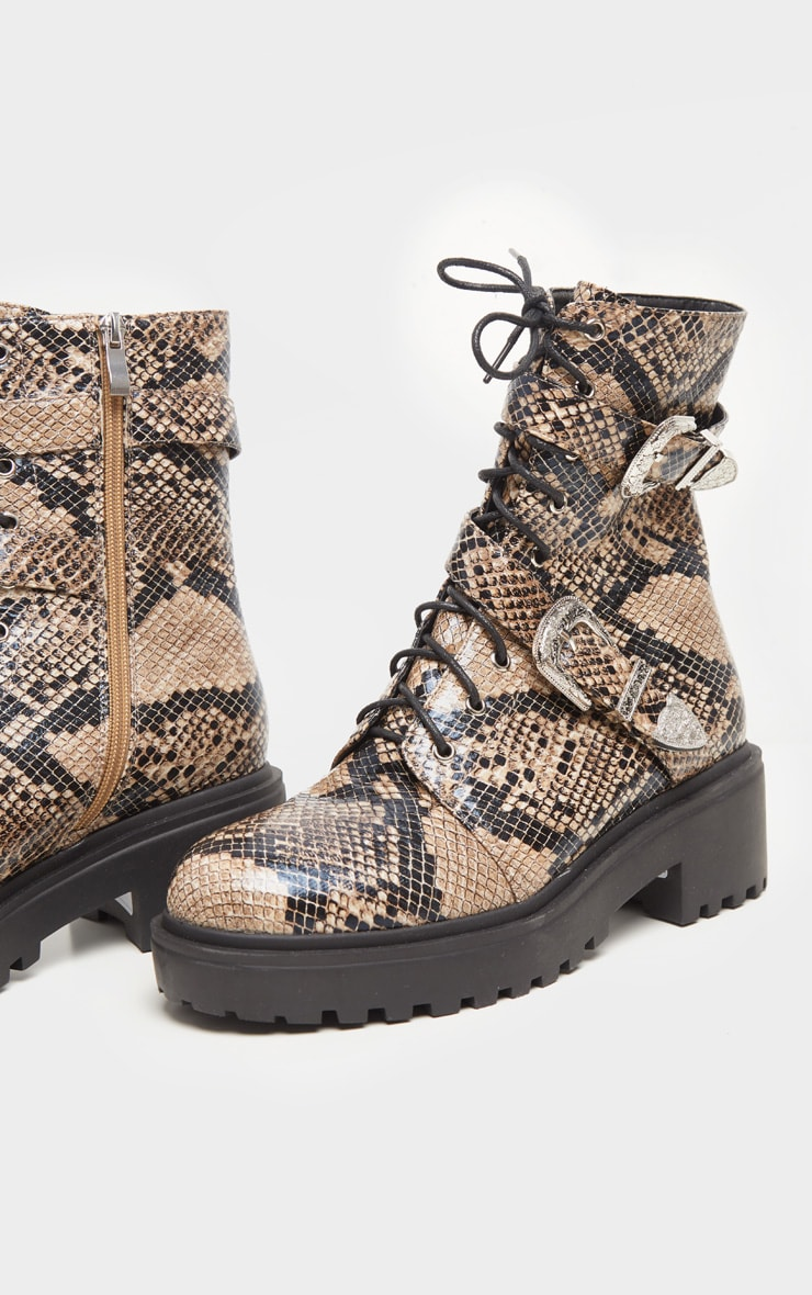 Snake Western Buckle Cleated Ankle Boots 3