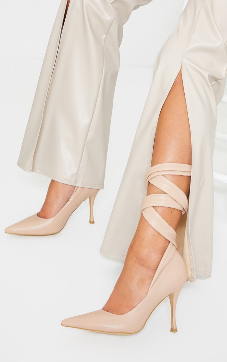 Nude PU Ankle Tie Court Shoe 1
