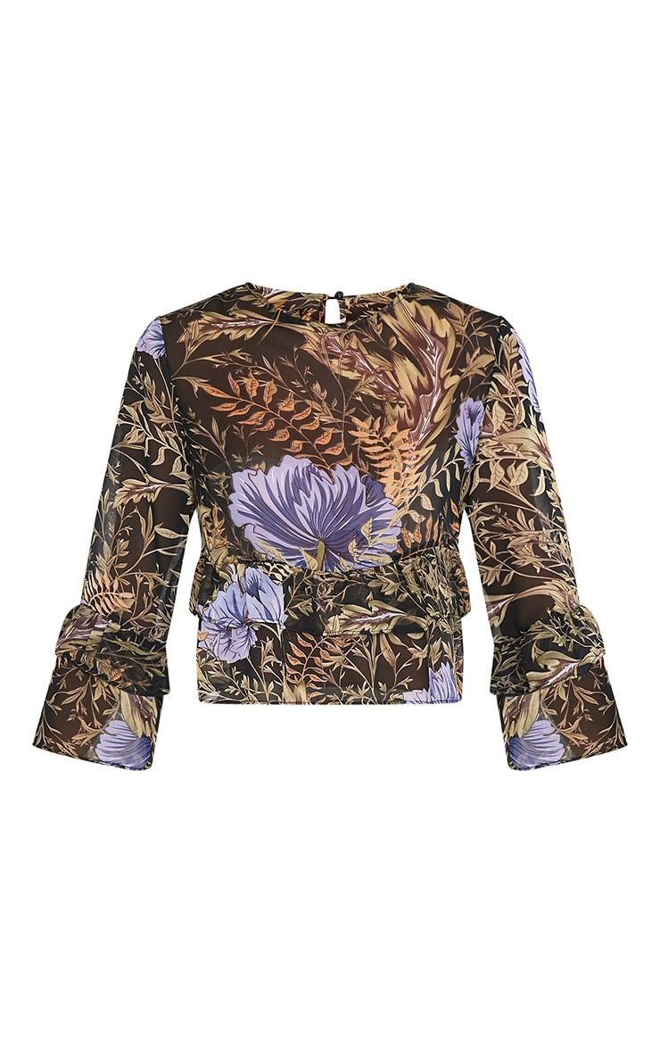Leyda Black Floral Print Ruffle Blouse 3