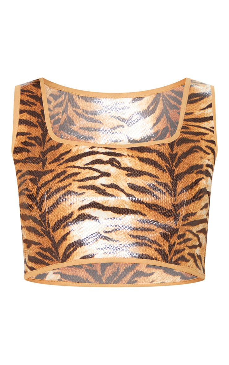 Tiger Print Snake Square Neck Crop Top 4
