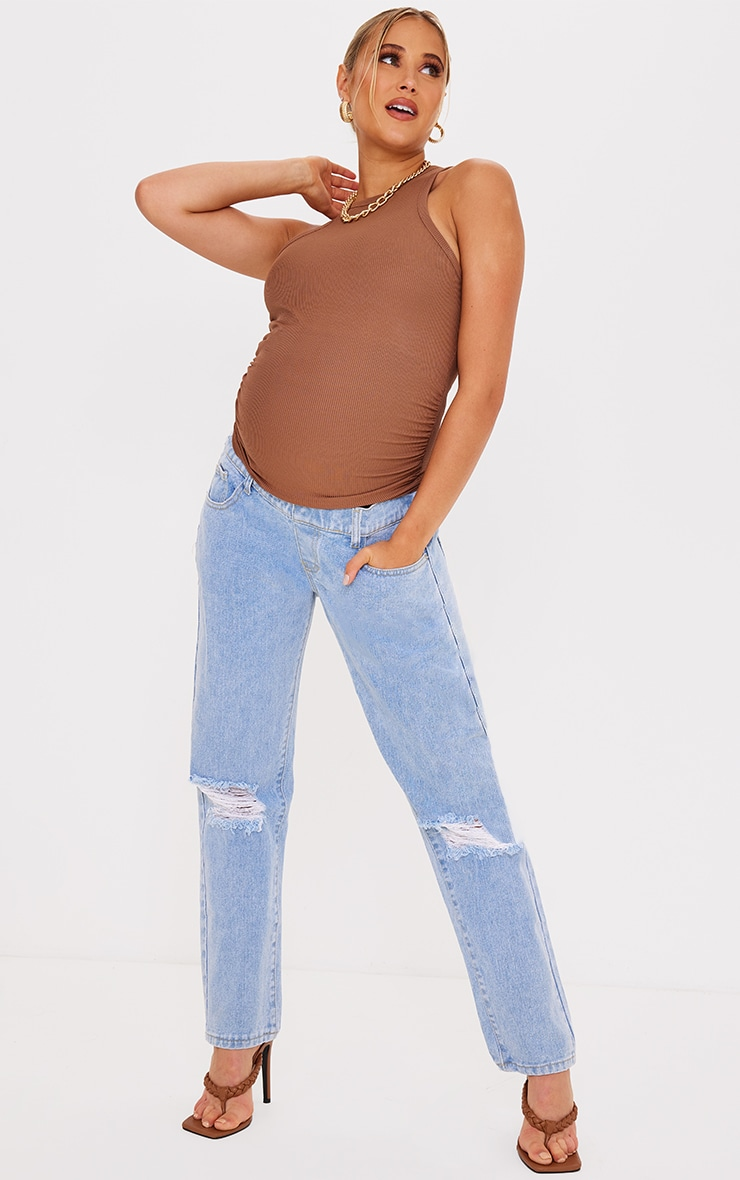 Maternity Light Blue Ripped Knee Mom Jeans 1