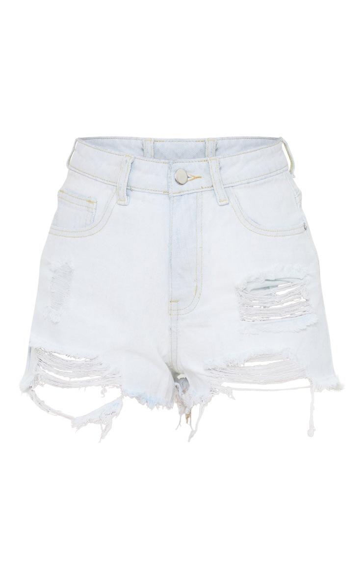 Petite Bleach Wash Distressed Denim Shorts 5