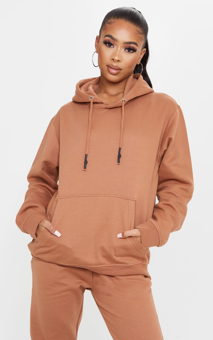 Tan Oversized Wax Toggle Hoodie 1