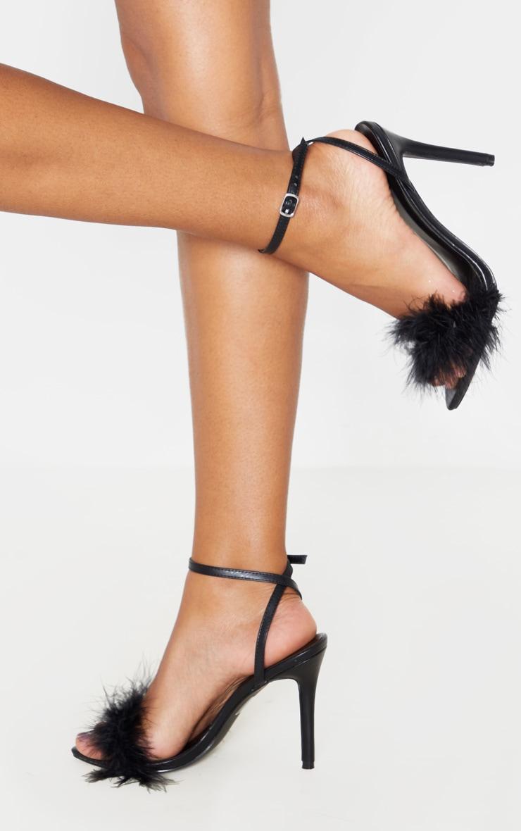Black Feather Strap Heeled Sandal 1