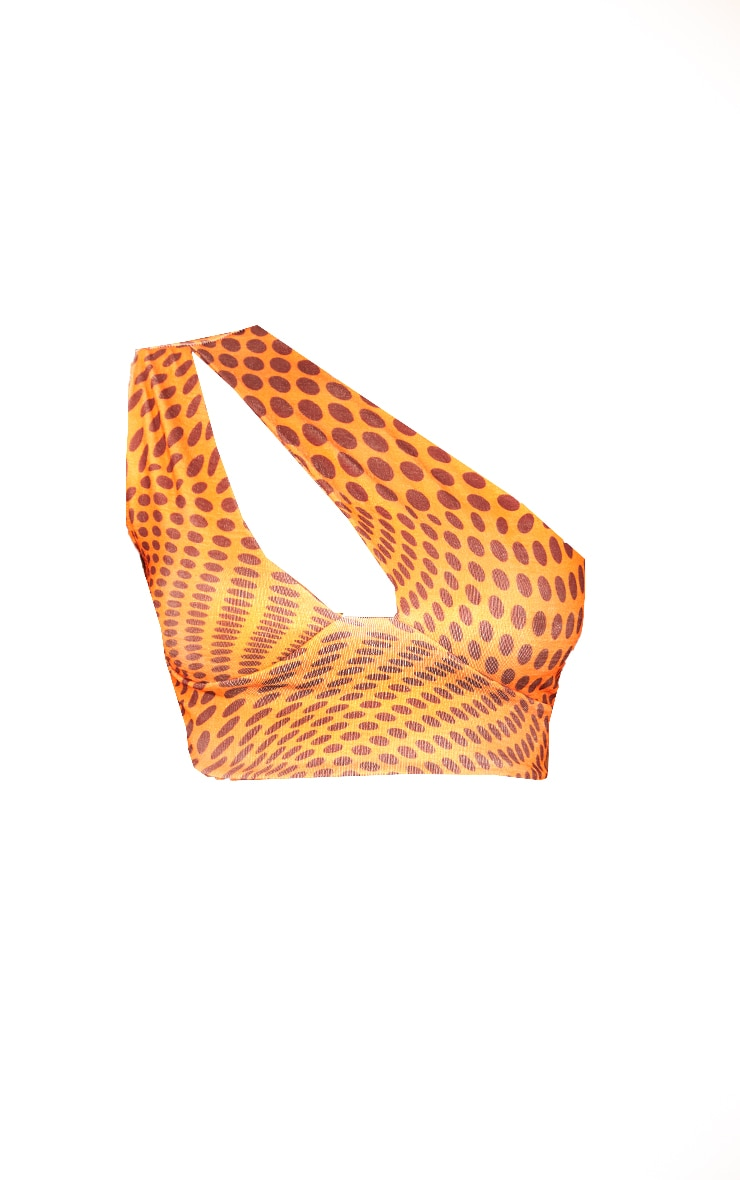 Orange Abstract Print Acetate Slinky Cut Out One Shoulder Crop Top 5