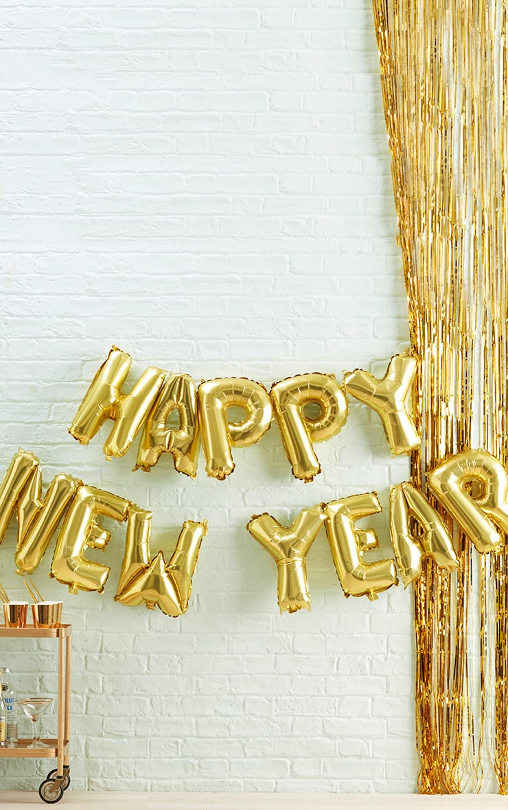 Ginger Ray Gold Happy New Year Balloon Bunting 1