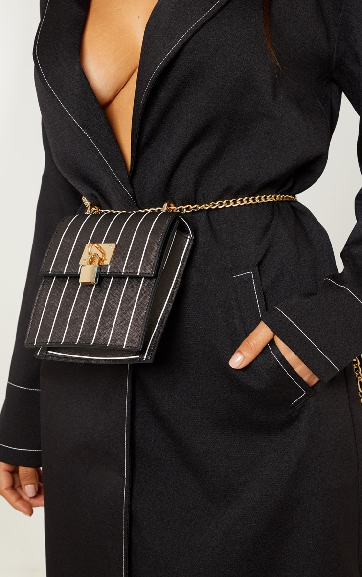 Black Vertical Stripe Structured Chain Bum Bag 2