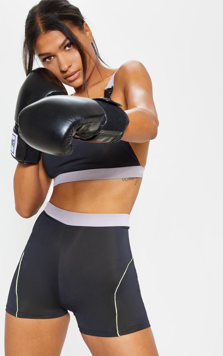Black Contrast Binding Gym Hot Pants 1