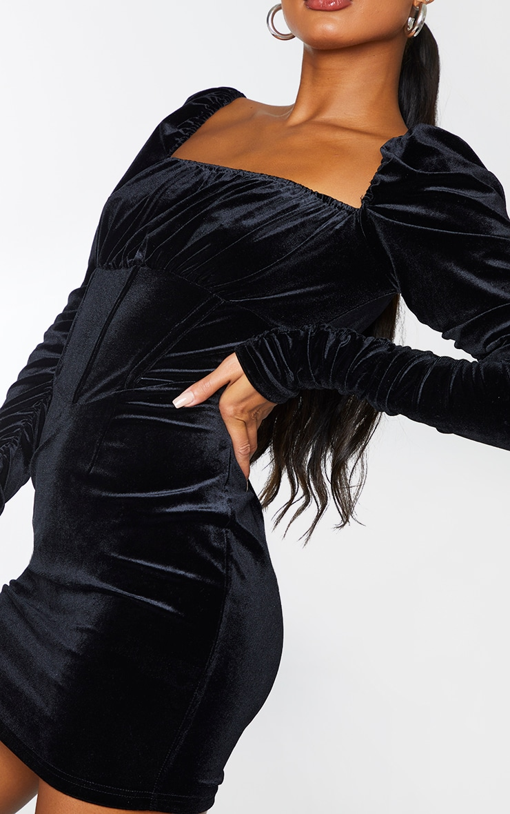 Black Velvet Ruched Sleeve Corset Detail Bodycon Dress 4