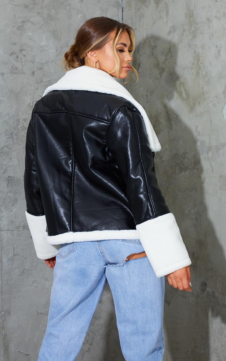 Black Faux Leather Contrast Coloured Faux Fur Pocket Front Aviator 2