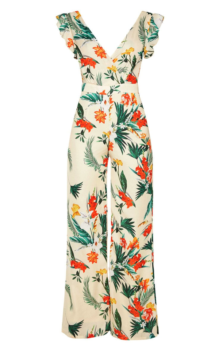 Nude Tropical Print Frill Sleeve Tie Back Jumpsuit 3