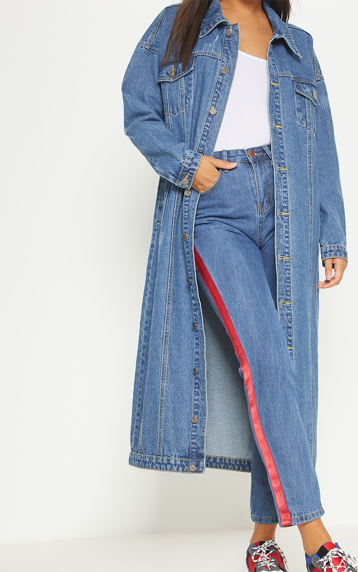 Light Wash Distressed Maxi Denim Jacket  5