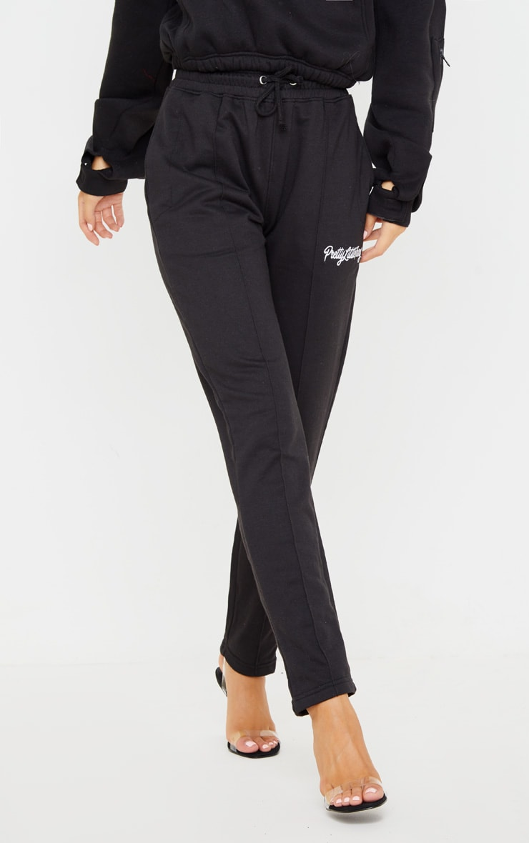 PRETTYLITTLETHING Black Tapered Joggers 2