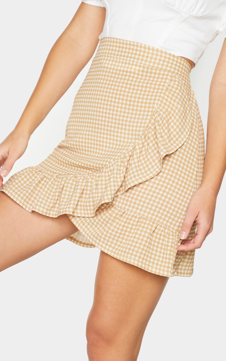 Stone Gingham Frill Hem Wrap Mini Skirt 5