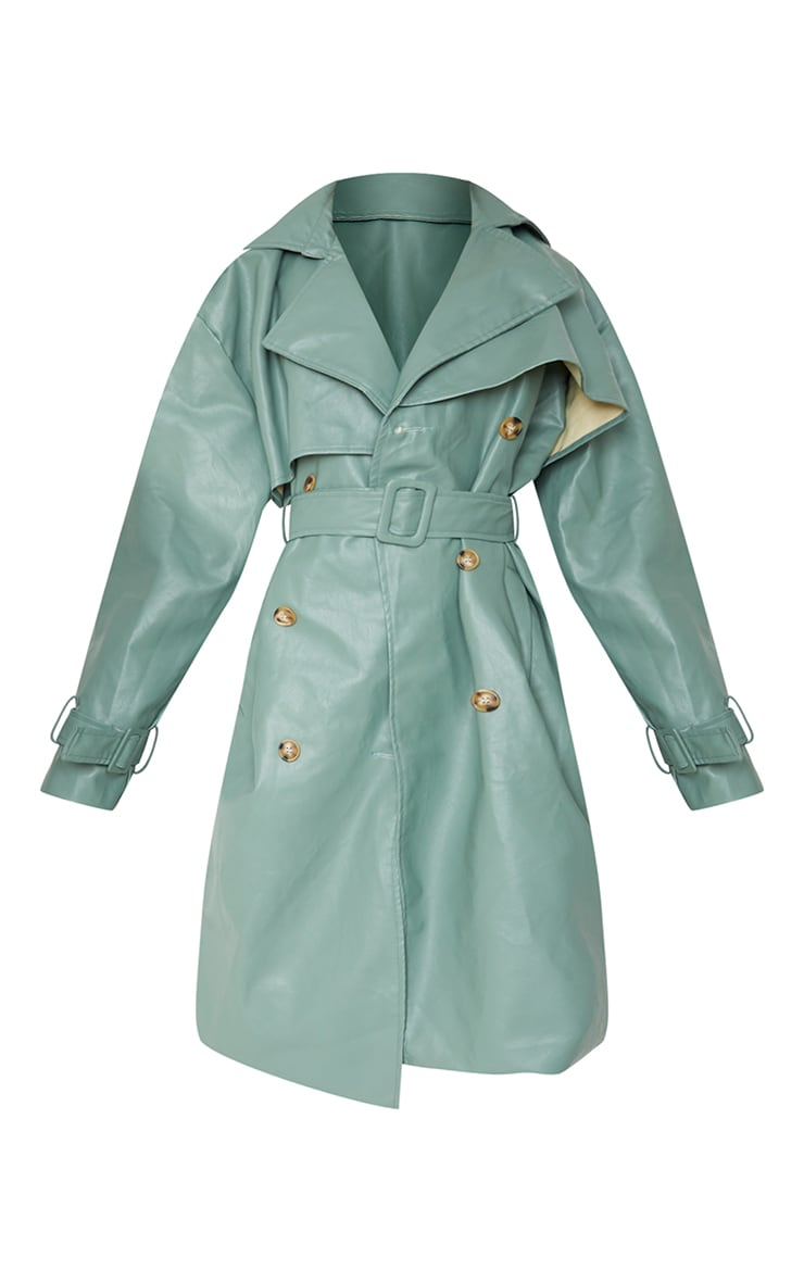 Duck Egg Blue Faux Leather Oversized Belted Midi Trench 5