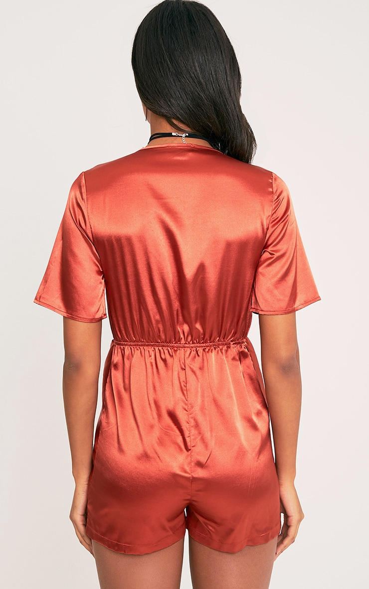 Hilary Tobacco Knot Front Playsuit 3