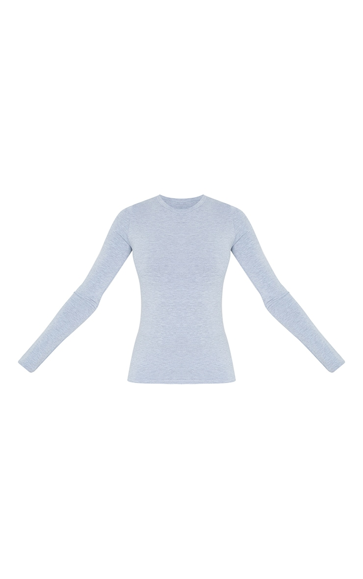 Tall Grey Marl Basic Long Sleeve Top 5
