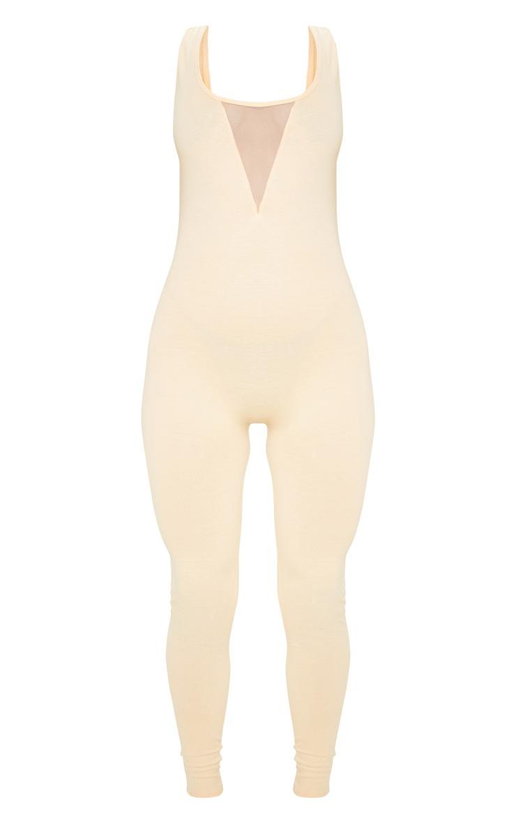 Fawn Cotton Elastane Mesh Panel Sleeveless Jumpsuit 3