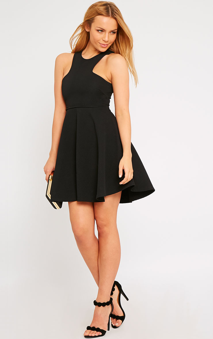 Stacy Black Textured Racer Neck Skater Dress 3